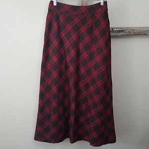 Gap vintage 90s wool blend red plaid skirt A line